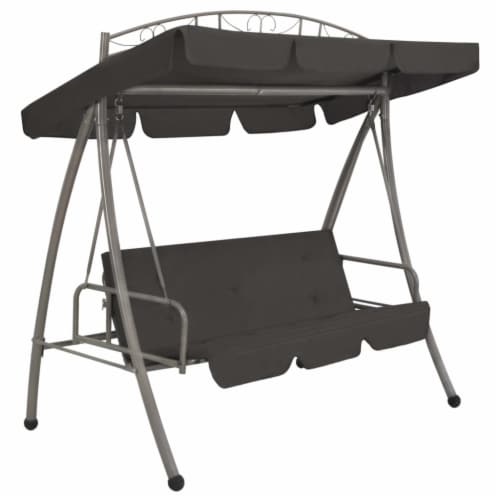 vidaXL Outdoor Convertible Swing Bench with Canopy Anthracite 78 x47.2 x80.7  Steel Perspective: front