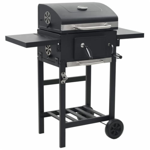 vidaXL Charcoal-Fueled BBQ Grill with Bottom Shelf Black Perspective: front