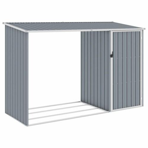 vidaXL Garden Firewood Shed Gray 96.5 x38.6 x62.6  Galvanized Steel Perspective: front