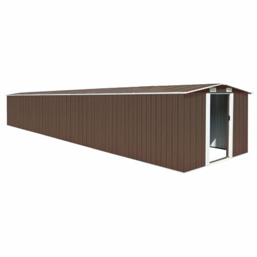vidaXL Garden Shed Brown 101.2 x306.7 x71.3  Galvanized steel Perspective: front