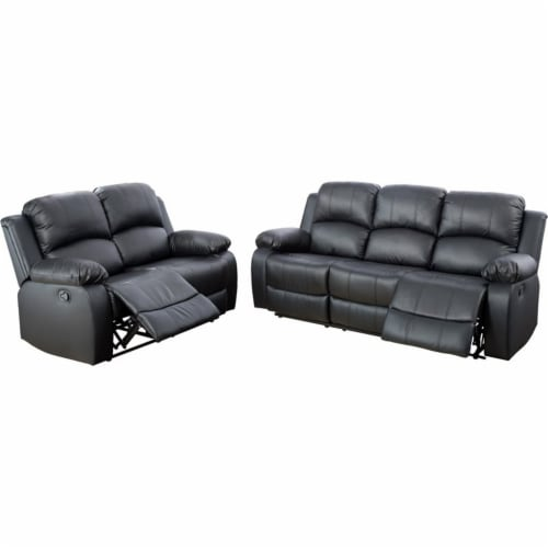 Lifestyle Furniture Raymond 2-Pieces Faux Leather Recliner Sofa Set in Black Perspective: front