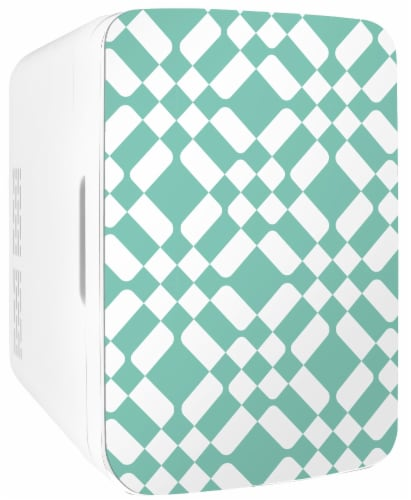 Cooluli Infinity 10 Liter Portable Compact Mini Fridge - Green Checkered Print Perspective: front