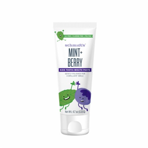 Schmidt's Mint + Berry Kids Tooth + Mouth Paste Perspective: front