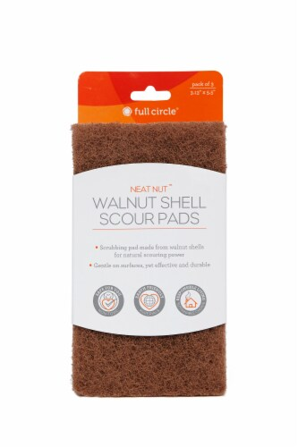 Full Circle Neat Nut Walnut Shell Scour Pads - Brown Perspective: front