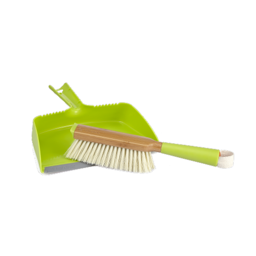Full Circle Cleaning Brush and Dustpan Set - Green Perspective: front