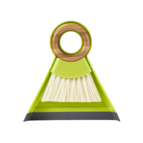 Full Circle Tiny Team Mini Brush and Dustpan - Green Perspective: front