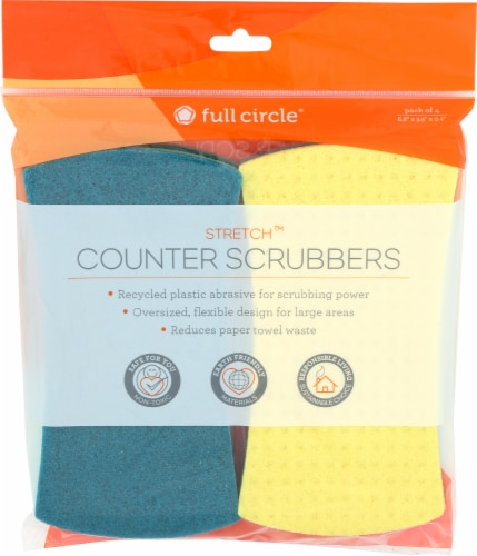 Full Circle Stretch Counter Scrubbers - Yellow/Teal Perspective: front