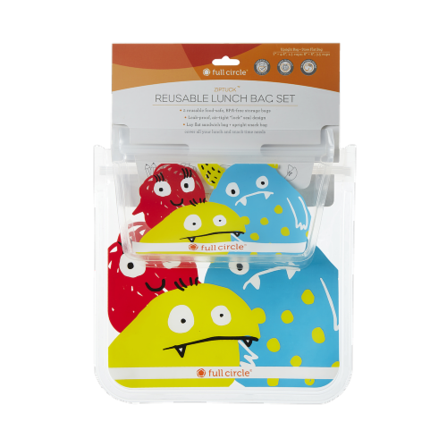 Full Circle Monster Reusable Kids Lunch Bag Set Perspective: front