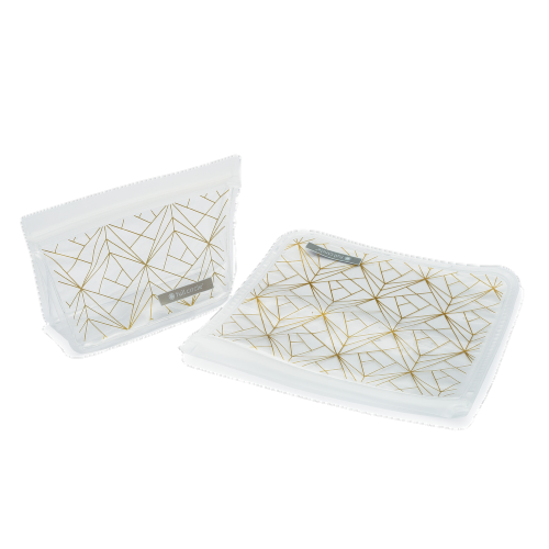 Full Circle Geometric Reusable Lunch Bag Set - White/Gold Perspective: front
