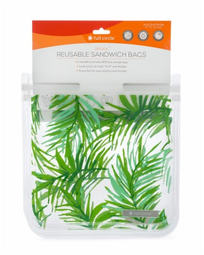 Full Circle Ziptuck Palm Leaves Print Reusable Sandwich Bags - 2 pk Perspective: front