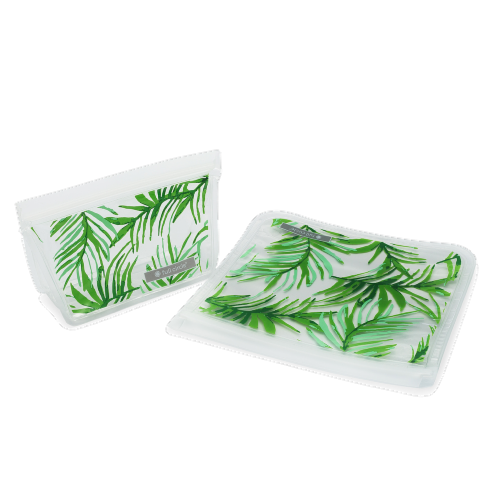 Full Circle Palm Leaf Reusable Lunch Bag Set - White/Green Perspective: front