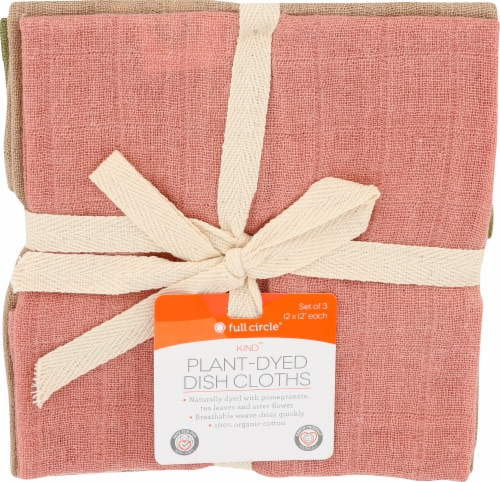 Full Circle Plant-Dyed Dish Cloths - Pink Perspective: front