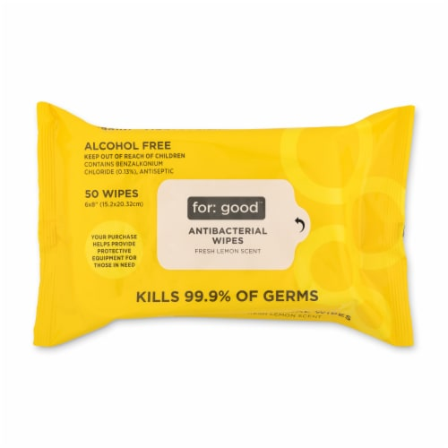 Full Circle For Good Fresh Lemon Scent Antibacterial Wipes Perspective: front