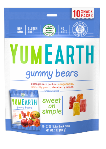 Yum Earth Organic Gummy Bears Snack Packs Variety Bag Perspective: front