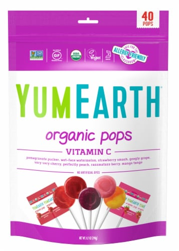 Yum Earth Organic Vitamin C Lollipops Perspective: front