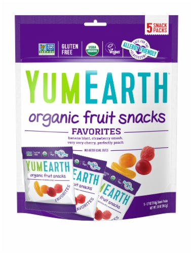 Yum Earth Organic Banana Cherry Peach & Strawberry Fruit Snacks Perspective: front