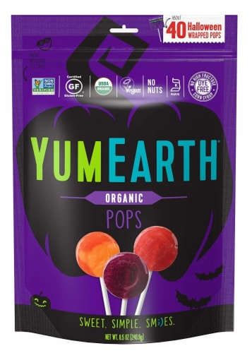 Yum Earth Organic Halloween Wrapped Pops Perspective: front