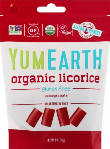 Yum Earth Gluten Free Pomegranate Licorice Perspective: front