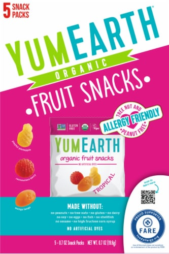 Yum Earth Organic Tropical Fruit Snacks Perspective: front