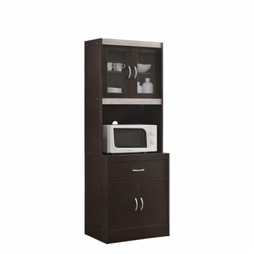 Hodedah HIKF96 CHOCO-GREY Kitchen Cabinet with Top & Bottom, Enclosed Cabinet Space, 1-Drawer Perspective: front