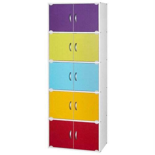 Hodedah 5-Shelf, 10-Door Bookcase in Rainbow Perspective: front