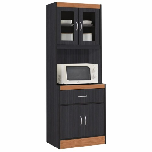 Hodedah Kitchen Cabinet 1 Drawer and Space for Microwave in Black-Beige Wood Perspective: front