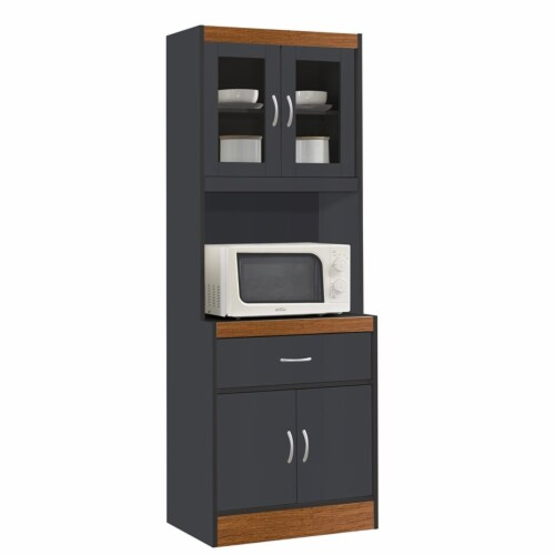 Hodedah Kitchen Cabinet 1 Drawer and Space for Microwave in Gray-Oak Wood Perspective: front