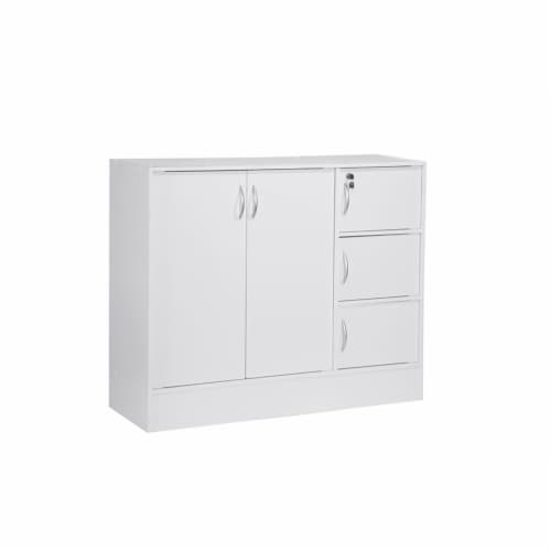 Hodedah Multipurpose Wooden Bookcase with 5-Doors 3-Shelves in White Perspective: front