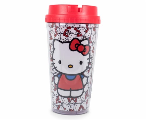 Hello Kitty Double Wall Plastic Travel Mug - 16 oz Perspective: front