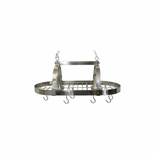 Elegant Designs Brushed Nickel 2 Light Kitchen Pot Rack with Downlights Perspective: front