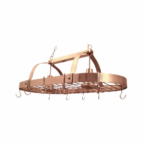 Elegant Designs 2 Light Kitchen Pot Rack with Downlights Perspective: front
