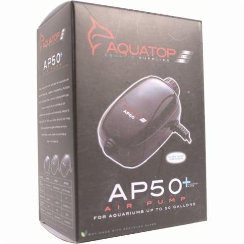 Aquatop Aquatic Supplies 003538 20-60 gal Single Outlet Aquarium Air Pump - Black Perspective: front