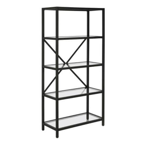 Henn&Hart 63  4 Tier Metal Bookcase Black and Bronze Finish with Glass Top Perspective: front