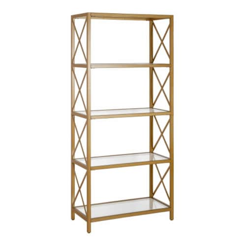 Henn&Hart 66' 4 tier Bookcase Brushed Brass Gold Finish Perspective: front