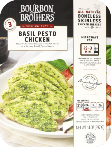 Bourbon Brothers All Natural Basil Pesto Chicken Perspective: front