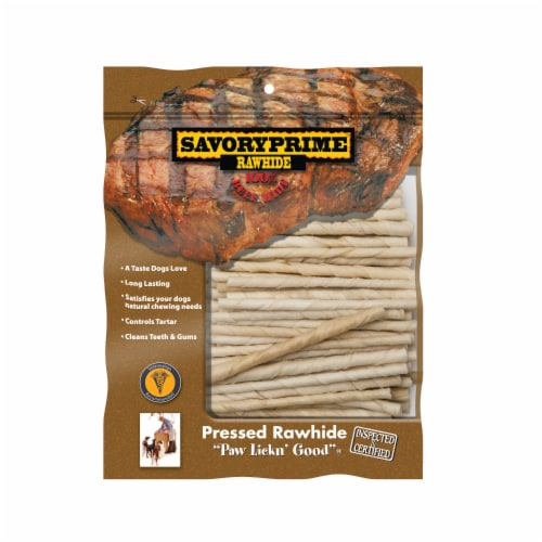 Savory Prime Rawhide Beef Hide Twist Sticks Dog Treats Perspective: front