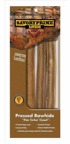 Savory Prime Natural Pressed Rolled Rawhides Perspective: front