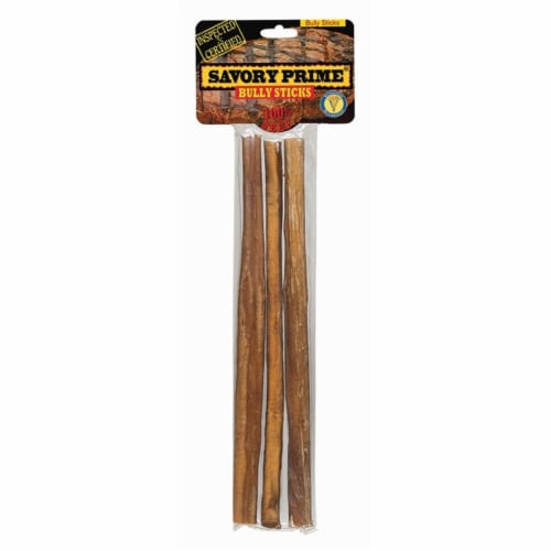 Savory Prime Natural Beef Grain Free Bully Stick For Dogs 9 in. 3 pk - Case Of: 1; Perspective: front