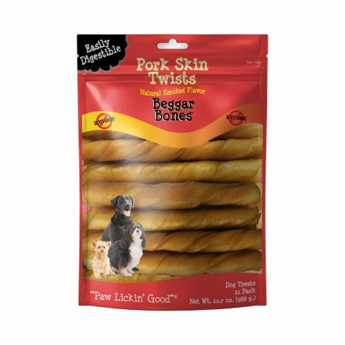 Savory Prime Treat  Pork Skin Twists Natural Smoked Flavor Beggar Bones Perspective: front