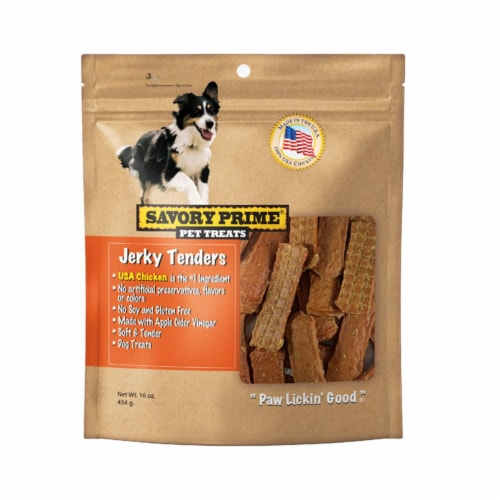 Savory Prime 8049081 16 oz Natural Chicken Grain Free Jerky Tenders for Dogs Perspective: front