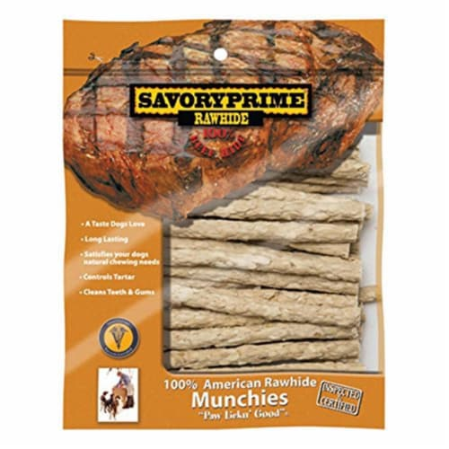 Savory Prime Munchy Dog Stix Medium Adult Rawhide Twists Natural 5 in. L 30 pk - Case Of: 1; Perspective: front