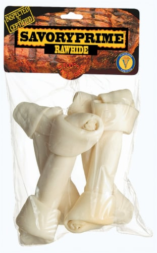 Savory Prime 8-Inch White Rawhide Bones Perspective: front