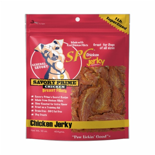 Savory Prime Natural Chicken Jerky Dog Treats Perspective: front