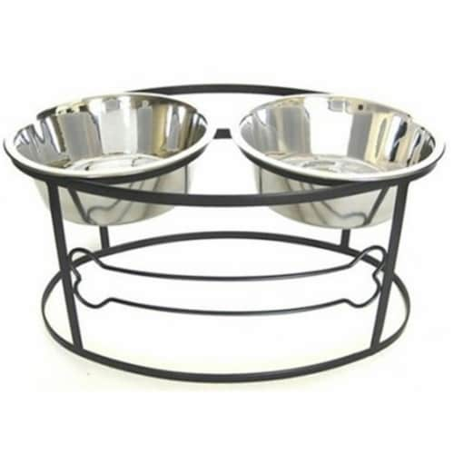 Pets Stop RDB3 Bone Double Raised Double Dog Bowl - Small Perspective: front