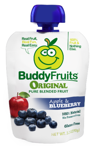 Buddy Fruits Original Apple & Blueberry Pure Blended Fruit Perspective: front