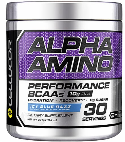Cellucor  Alpha Amino Performance BCAAs   Icy Blue Razz Perspective: front