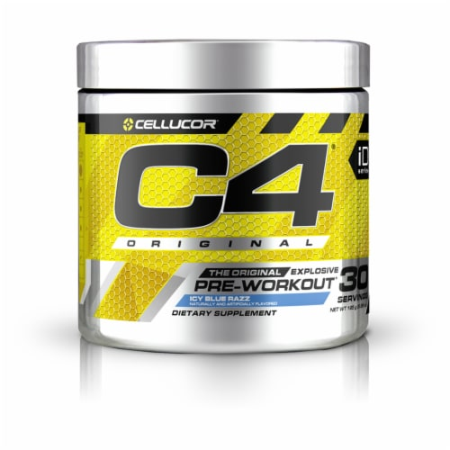 Cellucor C4 Icy Blue Razz Pre-Workout Dietary Supplement Perspective: front