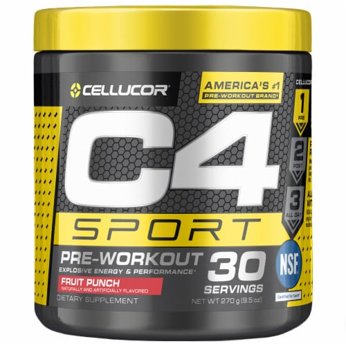 Cellucor C4 Sport Fruit Punch Pre-Workout Powder Supplement Perspective: front