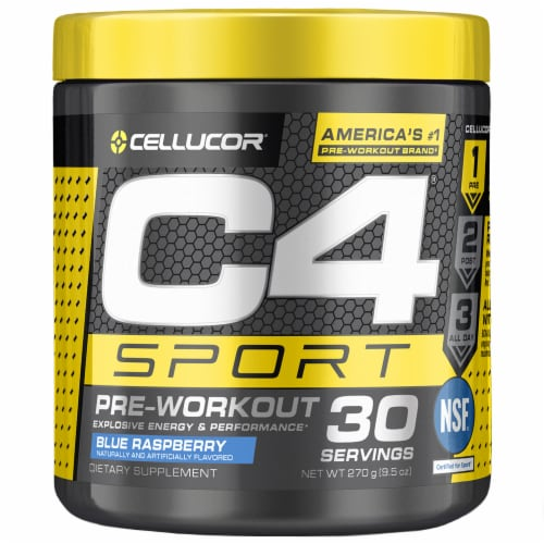 C4 Sport Blue Raspberry Pre-Workout Powder Supplement Perspective: front