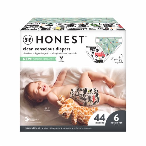 The Honest Co. Size 6 T-Rex + Breakfast Print Diapers Perspective: front